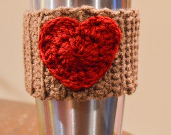 Crochet Heart Coffee Cup Sleeve