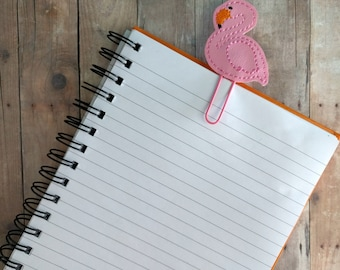 Flamingo Planner Clip Bookmark, Embroidered Light Pink Vinyl, Pink Paper Clip, Keeps Your Planner Neat, Custom Clip, Made in USA