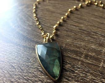Labradorite Necklace - Gemstone Necklace -  Gold Pyrite wire wrapped necklace - Labradorite Jewelry - bezel set necklace - Arrow Necklace
