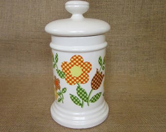 SALE! ~ McCoy Gingham Flowers Kitchen Canister