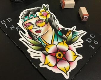 Hippie girl original painting