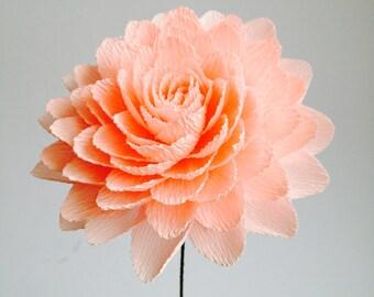 Single crepe paper dahlia/salmon/cream/orange/purple/burgundy flower/paper flowers/paper home decor