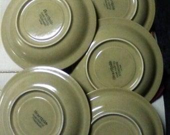 Vintage  Hearthside Hand Painted Stoneware, 5 Sauce Plates