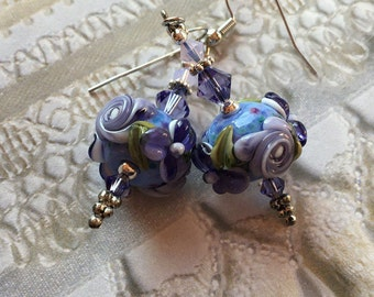 Lavender Lampwork Floral Earrings with Pale Lavender Flowers, Lampwork Jewelry,  Mothers Day Gift, Gift For Her, SRA Lampwork Jewelry