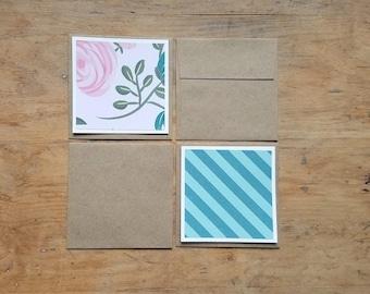 4 FLAT blank recycled mini notecards * kraft paper envelopes * recycled note cards * mini recycled cards * mini envelopes * blank cards
