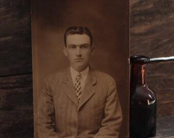 Vintage Photograph of Serious Man 1930, Vintage Portrait, Vintage Photography
