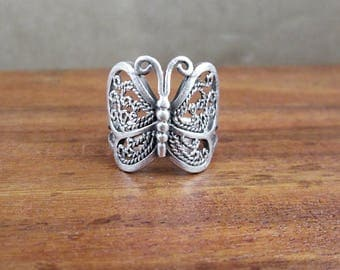 925 Sterling Silver Butterfly Ring - Size 5.5