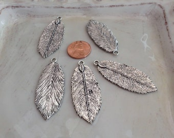 5 Silver Leaf Charms, Pendants