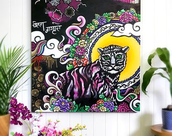 Nepalese Tiger Painting - Acrylic Painting on Canvas