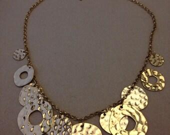 Vintage Gold Disc Necklace