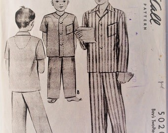 Vintage McCall sewing pattern 5020 - Boy's two piece pajamas