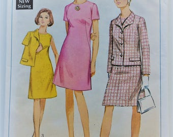 Vintage 1960's Simplicity sewing pattern 7450 - Misses' A-line dress and Jacket