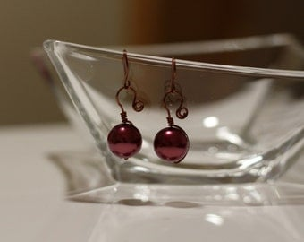 Bronze wire wrapped handmade earrings  with bead
