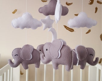 Elephant mobile, elephant baby mobile, unisex baby mobile, grey elephant mobile, nursery mobile, cloud and star mobile, baby shower gift,
