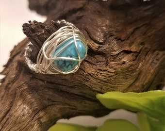 Turquoise silver wire wrapped ring, wire wrapped ring, size 7