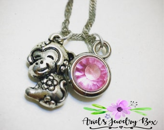 Year of the Monkey Birthstone Charm Necklace Custom Handmade with optional initial