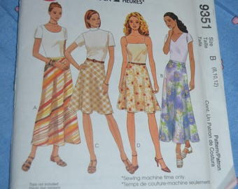 McCalls 9351 Misses Bias Skirts in Two Lengths Sewing Pattern  - UNCUT - Size 8 10 12
