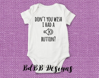 Volume Mute Button Baby Bodysuit / Custom Baby Outfit / Funny Baby Boy Girl Bodysuit / Novelty Funny Baby Shower Gift / Crying Baby Funny