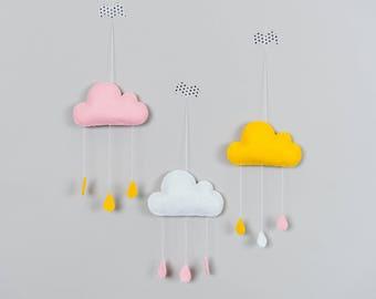 Nursery Cloud Mobile, Nursery Mobile, 3 Rain Cloud Mobile, Baby Room decor, Cloud Wall Hanging, Baby Shower Gifts, Cloud and raindrop