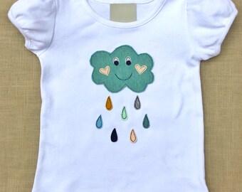 Toddler girls spring shirt, baby girls spring shirt, baby girls spring clothes, happy rain cloud, girls appliqué shirt
