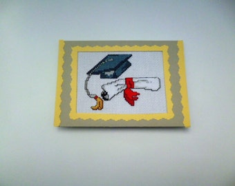 Graduation card, College, High school, College graduation, Congratulations card, Congratulations on your graduation, Embroidered card