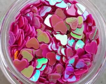 Hot Pink Iridescent Hard Heart Glitters. 5 grams