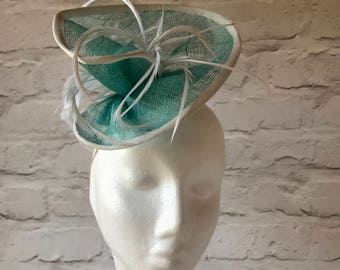 Duck Egg Fascinator, Teal Mini Hat, Turquoise White Hat, Aqua Blue Derby Fascinator, Turquoise Occasion Hat, Aqua Ivory Wedding Fascinator