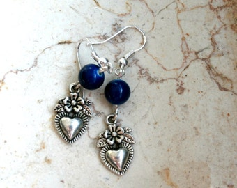 Womens Heart Shaped Dangle Earrings, Blue Heart Silver Earrings, Dangle Earrings, Handmade Beaded Earrings, Gift for her,  Everyday Jewelry