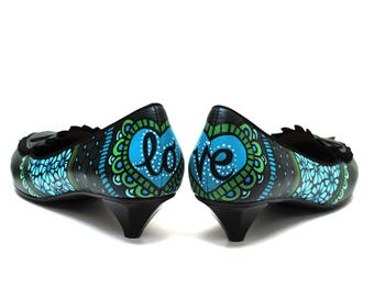 Love Me Hand Painted Upcycled Women's Leather Kitten Heel Shoes