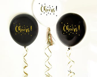 Cheers Party Balloons | Black Balloons | White and Gold Balloons | Celebrate Balloons - Set of 3