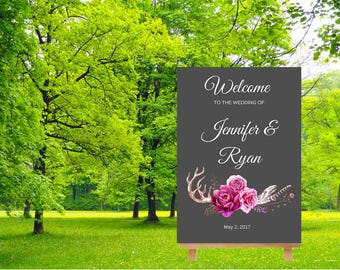 Welcome Wedding Sign, Burgundy Wedding Sign Printable, Reception Decor, Rustic Wedding, poster welcome sign, Boho Wedding Sign printable