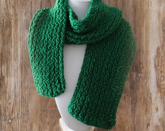 Knitted Con Amor - Kelly Green Hand Knitted Scarf with Metallic Thread - Knit Scarf, Women's Scarf, Fringed Scarf, Handmade, OOAK (143)
