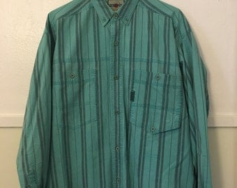 Turquoise Green/Blue Striped 80's 90's Introspect Long-Sleeve Collared Button-up Triple Pocket Ranch Style Size Medium (Fits like a Large)