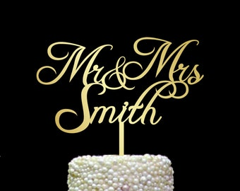 Surname Cake Topper, Mr and Mrs Cake Topper Gold, Custom Wedding Cake Topper, Personalized Cake Toppers, Gold Cake Topper, Silver, CT#088