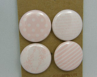 "Lot of 4 badges 1 ""patterns & Textures Rose series"