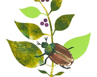 Garden Beetle - Giclee Print of an Original Collage