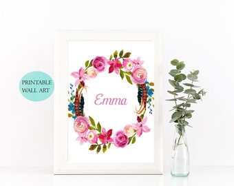 Nursery Name Print, Custom Baby Name Wall Art, Baby Name Print, Initial Nursery Wall Art, Personalized Baby Name Print, Floral Name Print