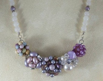 Lavender and purple vintage assemblage bib beaded necklace