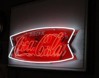Original 1960s Coca Cola Neon Fishtail Sign, Vintage Coke