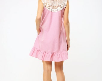 Pink plaid cotton dress with laced shoulders