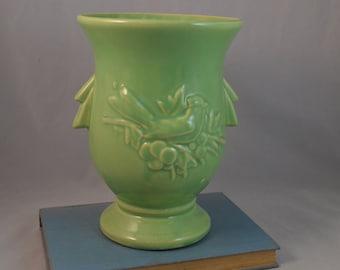 Vintage Green McCoy Pottery Bird and Berries Vase