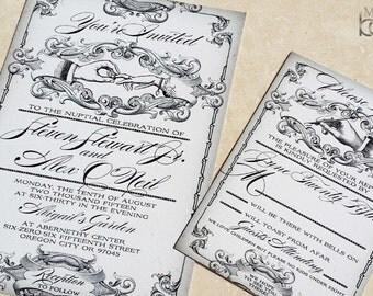 Puttin on the Ritz, Great Gatsby themed wedding invitation set, Gatsby Wedding Invites. Roaring 20s wedding invitations.