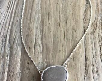 light brown beach stone necklace