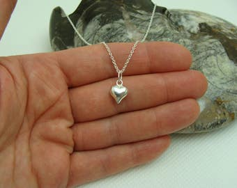 Heart Sterling Silver Necklace, Sterling Silver necklace with Sterling Silver 9mm Puffed Heart pendant/charm