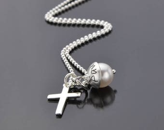Name necklace LYHO CROSS 925 Silver necklace with engraving cross confirmation communion