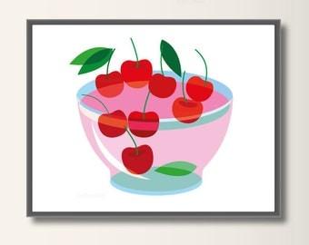 Cherry, Art Print, Kids Art, Kids Wall Art, Nursery Decor, Kidsroom Art. Minimalist Print, Minimal Print Minimalist Print, Minimal Print
