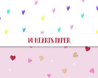 Hearts digital paper 14, Hearts paper, Love digital paper, heart confetti paper, pink paper, pink heart paper, pastel heart, gold hearts