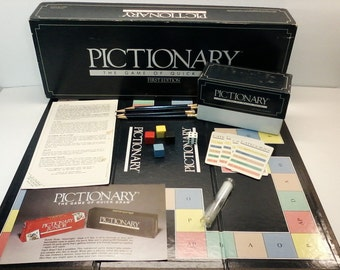 Pictionary First Edition The Game of Quick Draw Rare Vintage 1985 80's Retro Family Board Game