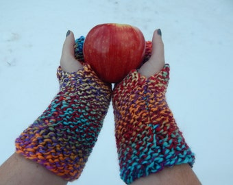 Multi-Color Fingerless gloves hand warmers Knit mitts gift knitted mittens