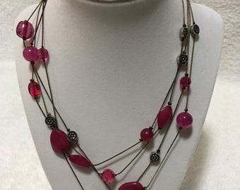 Vintage Double Strand Necklace w/ Raspberry Colored Beads 36 inches - Unsigned